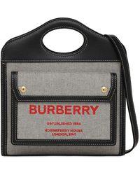 Burberry Mini Pocket キャンバス&レザーバッグ - ブラック