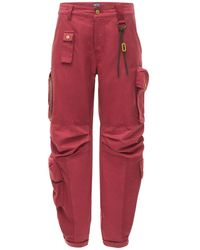 DIESEL Giulia Cotton & Linen Twill Trousers - Red