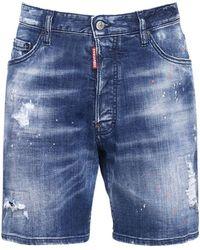 DSquared² 26cm Marine Fit Cotton Denim Shorts - Blue