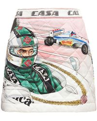 CASABLANCA The Art Of Racing サテンミニスカート - マルチカラー