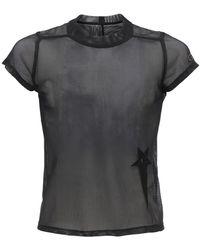 Rick Owens Camiseta Corta De Malla Transparente - Negro