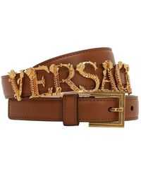 Versace 20mm Gold Logo Leather Belt - Brown