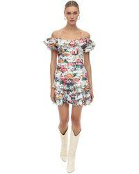 Zimmermann - Ruffled Floral Print Linen Dress - Lyst