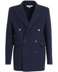 Loewe Wool Blend Double Breast Jacket - Blue