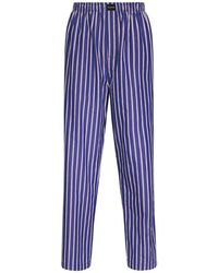 Balenciaga Striped Cotton Poplin Pajama Pants - Blue