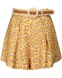 Zimmermann Carnaby Leopard Print Linen Shorts - Multicolour