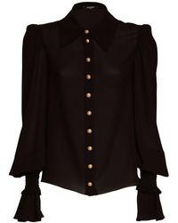 Balmain シアーシルクジョーゼットシャツ - ブラック