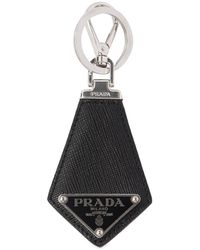 Prada Logo Saffiano Leather Key Chain - Black