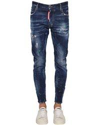 DSquared² Jeans Tidy Biker In Denim Di Cotone 17Cm - Blu