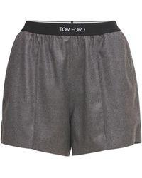 Tom Ford Minishorts Aus Kaschmirjersey Mit Logo - Grau