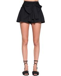 RED Valentino Cotton Poplin Mini Skort W/ Bow - Black