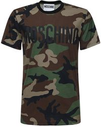 Moschino T-shirt In Cotone Camouflage - Verde