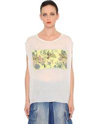 Marna Ro - Brocade Embellished Silk Chiffon Top - Lyst
