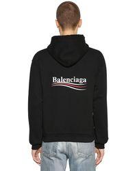 Balenciaga Felpa In Cotone Con Cappuccio E Logo - Nero