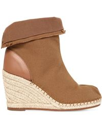 Maison Margiela 80mm Tabi Cotton Canvas Wedged Boots - Brown