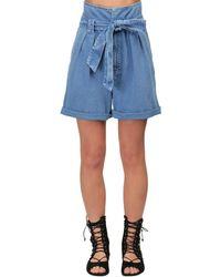 Temperley London - High Waist Cotton Denim Shorts - Lyst