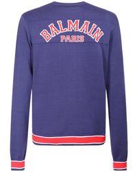 Balmain インターシャロゴウールニットセーター - ブルー