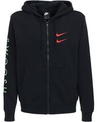 "Nike Hoodie Aus Baumwollmischfleece ""swoosh"" - Schwarz"