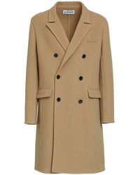 Loewe Zweireihiger Mantel Aus Wollmischung - Natur