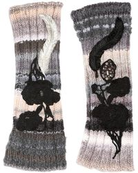 Antonio Marras - Embroidered Fingerless Wool Knit Gloves - Lyst
