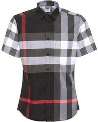 Burberry Рубашка Из Стретч Поплин - Серый