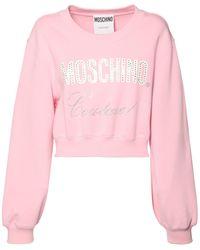 Moschino Sweatshirt Aus Baumwolle Mit Logo - Pink