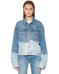 R13 - Patchwork Cotton Denim Trucker Jacket - Lyst