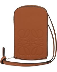 Loewe Logo Engraved Leather Zip Coin Purse - Brown