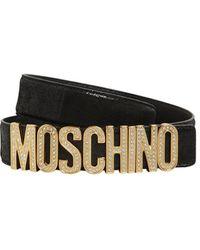 Moschino メタリックレザーベルト 35mm - ブラック