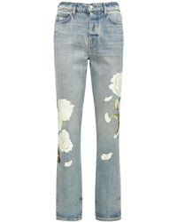 Amiri 19cm Jeans Aus Baumwolldenim Mit Blumendruck - Blau