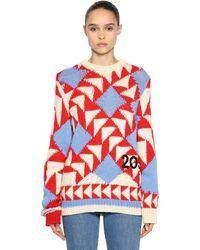 CALVIN KLEIN 205W39NYC Intarsia Wool Blend Jumper - Red