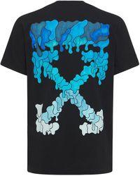 Off-White c/o Virgil Abloh T-shirt Aus Baumwolljersey Mit Markierung - Blau