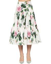 Dolce & Gabbana Printed Cotton Poplin Flared Midi Skirt - Green