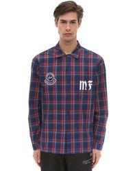 Moncler Genius Fragment コットンチェックシャツ - ブルー