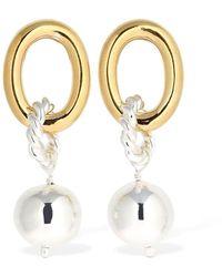 ISABEL LENNSE Chunky Hoop & Loop Earrings W/ Pearl - Metallic
