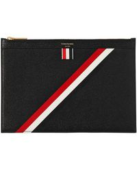 Thom Browne | Small Stripes Pebbled Leather Zip Pouch | Lyst