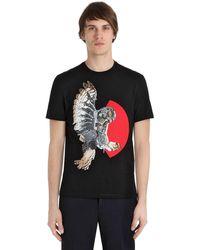 Neil Barrett T-shirt Aus Baumwolljersey Mit Eulendruck - Schwarz
