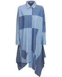 Loewe Patchwork オーバーサイズコットンシャンブレードレス - ブルー