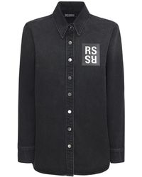 Raf Simons コットンデニムシャツ - ブラック