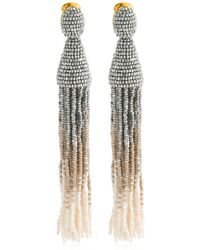 Oscar de la Renta Long Ombre Beaded Tassel Earrings - Metallic