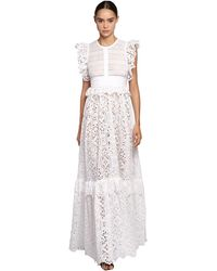Elie Saab Lace & Poplin Long Dress W/ Ruffles - White