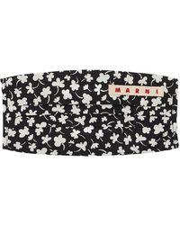 Marni Cotton Poplin Flower Print Mask - Black