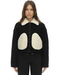 Courreges Short Faux Shearling & Wool Jacket - Black