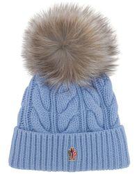 3 MONCLER GRENOBLE ウール&カシミア ケーブルニット帽 - ブルー