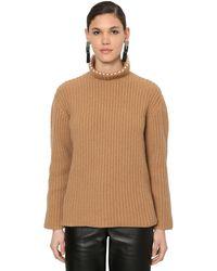 Loewe Embellished Cashmere Rib Knit Jumper - Natural