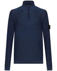 Stone Island Suéter De Punto De Algodón Con Cremallera - Azul
