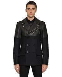 Alexander McQueen Куртка Из Кожи И Шерсти - Черный