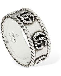 "Gucci 9mm Dicker Ring ""gg Marmont"" - Mettallic"