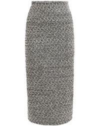 Alessandra Rich スパンコールツイードスカート - グレー