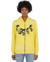 DOMREBEL Amigos Zip-up Sweatshirt Hoodie - Yellow